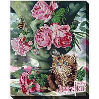 """Набор для вышивки бисером """"A-0278 Котенок и цветы"""""""