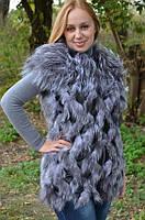 Жіночий жилет з хутра чорнобурої лисиці., фото 1