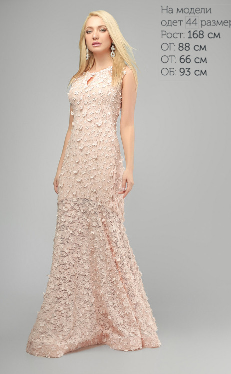 2fe1e18379c01de Длинное вечернее платье с объемной цветочной вышивкой - Styleopt.com в  Харькове