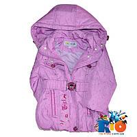Весенняя удлененная куртка на поясе, плащевка на подкладке, для девочек 1-5 лет (5 ед в уп)