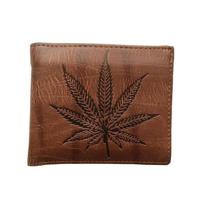 Чоловічий гаманець з тисненням листа конопель. Портмоне, фото 2