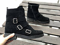 Ботинки из натуральной черно замши №355-4 (брук), фото 1