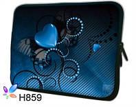 """Чехол для планшета/нетбука 12.2"""" гламур HQ-Tech H859 """"Абстракция сердце"""", неопреновый 30x23,5см"""