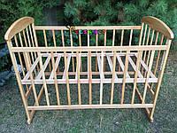 Кровать детская Наталка ольха светлая  (колеса, качалка, опускание борта), фото 1
