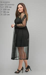 Женское платье с прозрачной сеткой и кружевом большого размера