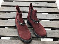 Ботинки № 409-5 бордовая замша + цепь