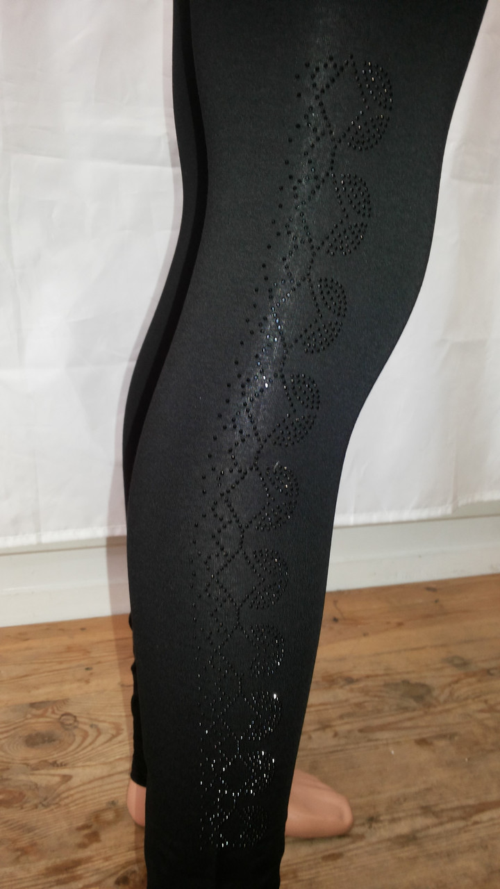 Женские леггинсы с  чёрными камнями