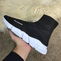 Мужские кроссовки в стиле Balenciaga Speed Trainer Black/White Черно-белые