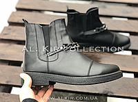 Ботинки № 409-4 черная кожа + цепь, фото 1