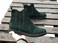 Ботинки челси  № 409-12 зеленая замша