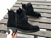 Ботинки № 409-1 черный замш + УШКИ съемные, фото 1