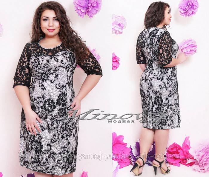 Платье №0034-белый+черный