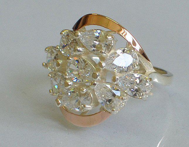 Серебряное кольцо с золотыми пластинами (082к)