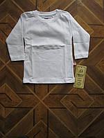 Детские однотонные футболки с длинным рукавом для деток  74. 80 . 92 см  Турция хлопок