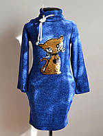 Платье для девочек с пайетками детское синее, фото 1