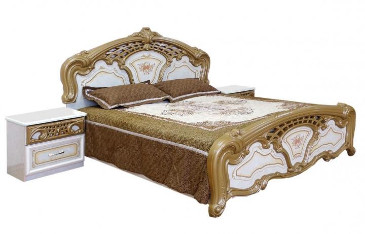 Ліжко з ДСП/МДФ в спальню 2-сп (1,8) (б/матрасу, та каркаса) Кармен Нова піно лак Світ Меблів