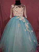 Платье детское нарядное с рукавом на 6-10 лет белое с голубым