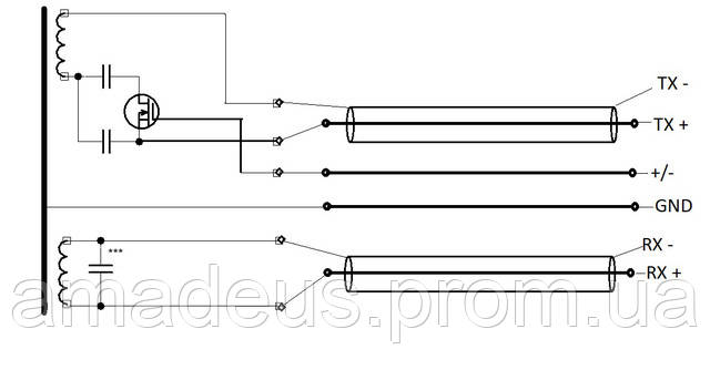 Приблизительная схема подключения многочастотных датчиков