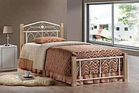 """Кровать односпальная  """"Миранда крем"""" из натурального дерева и металла"""