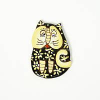 Брошь керамическая авторский дизайн ручная роспись кот