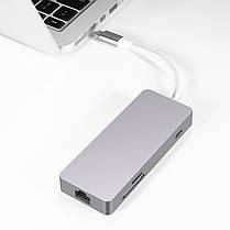 7In 1 Тип c Hub to High Definition Мультимедийный интерфейс USB3.0 Сетевой порт SD TF адаптер конвертер, фото 2