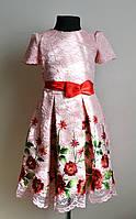 Нарядное детское платье для девочек с вышивкой розовое, фото 1