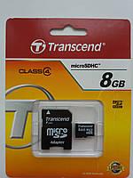 Карта памяти Transcend microSDHC 8GB Class 4+SD adapter
