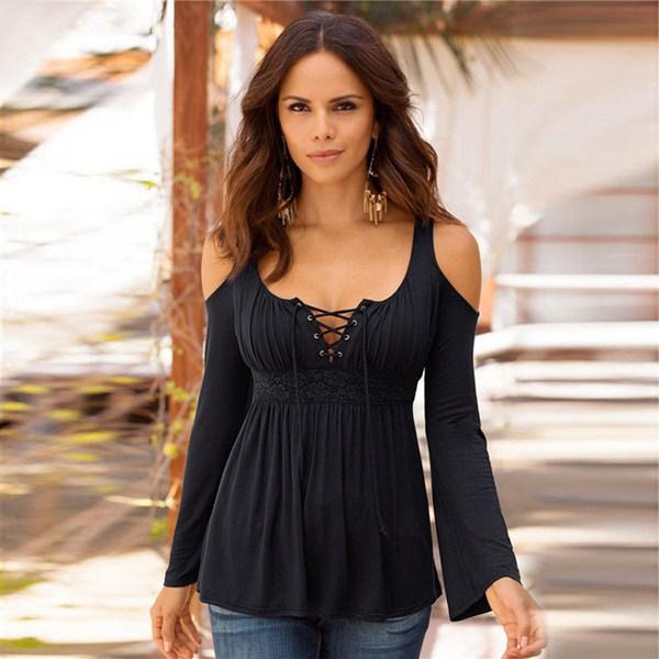 РАСПРОДАЖА Женская блуза декольте-шнуровка  размер S