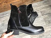 Ботинки из натуральной черной кожи №434 , фото 1