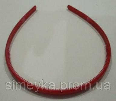Обруч для волос пластиковый глянцевый 8 мм. Красный
