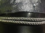 Картуз из джинса серебряного цвета с кожаным лаковым козырьком 55-58 , фото 2