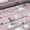 Хлопковая ткань польская мишки и жирафы с облаками на розовом №82