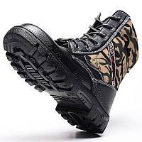 ЗимняямужскаякамуфляжСтальнаяноскаМех Облицованные работы Ботинки для лодыжки Безопасность труда обувь