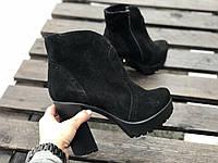 Ботинки из натуральной черной замши №352-6 (818 идеал), фото 1