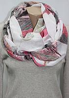 Снуд хомут легкий, листок, пайетки, розово-серо-белый, фото 1
