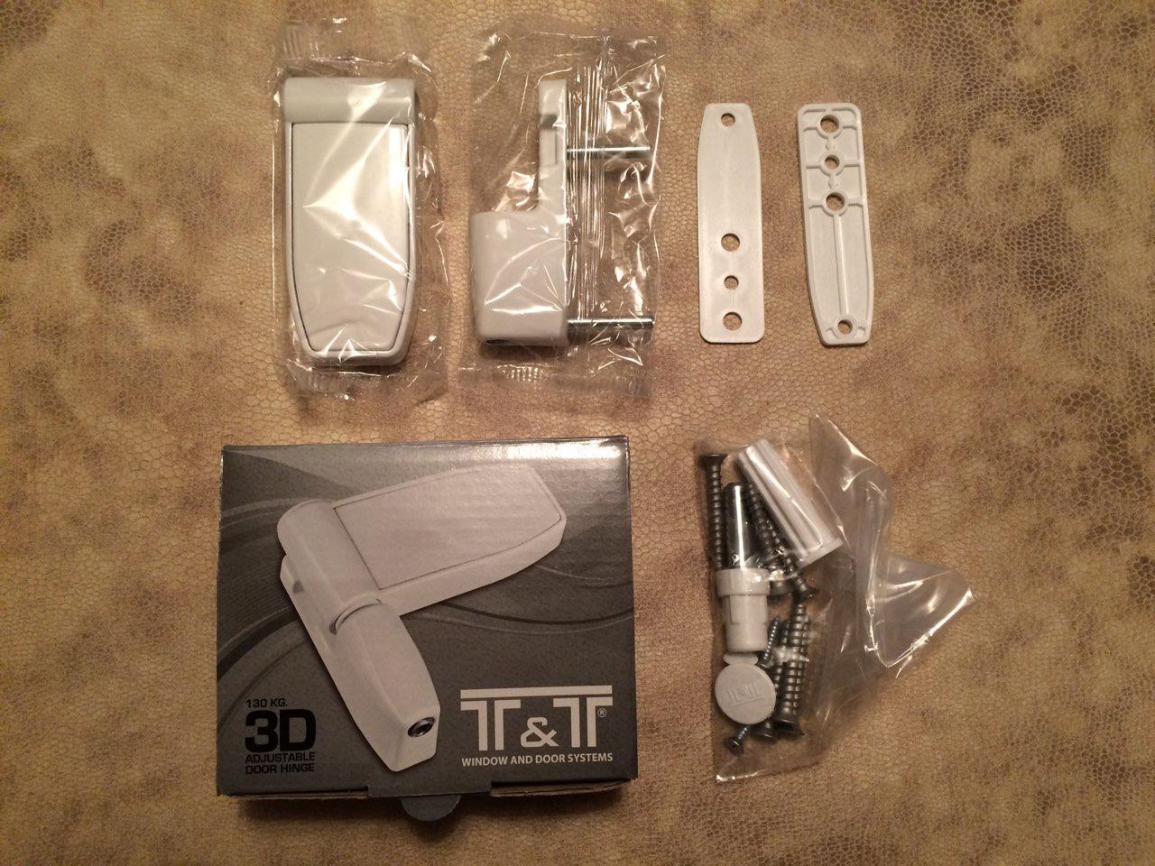 Петля для металлопластиковой двери T&T 3D 130 кг белая