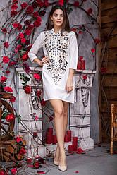 Платье туника  из натуральной лёгкой ткани c вышивкой