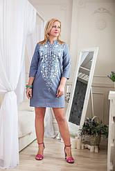 Туника платье из натуральной лёгкой ткани c вышивкой