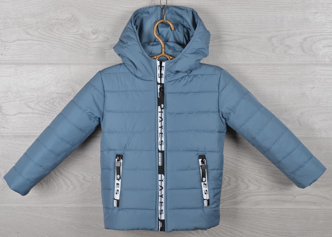 """Куртка детская демисезонная """"Moncler Tayes"""". 92-116 см (2-6 лет). Серо-голубая. Оптом."""