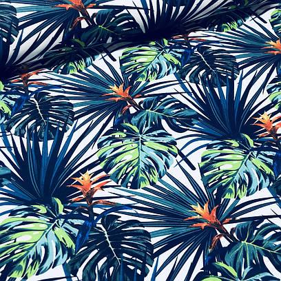 Хлопковая ткань польская листья и цветы сине-голубые №77
