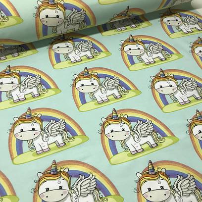 Хлопковая ткань польская белые единороги с радугой на мятном №76