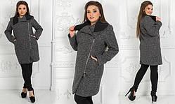 Стильное женское пальто из букле с шерстью 48+