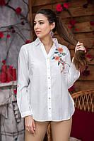 Блузка женская белая с вышивкой из натуральной ткани