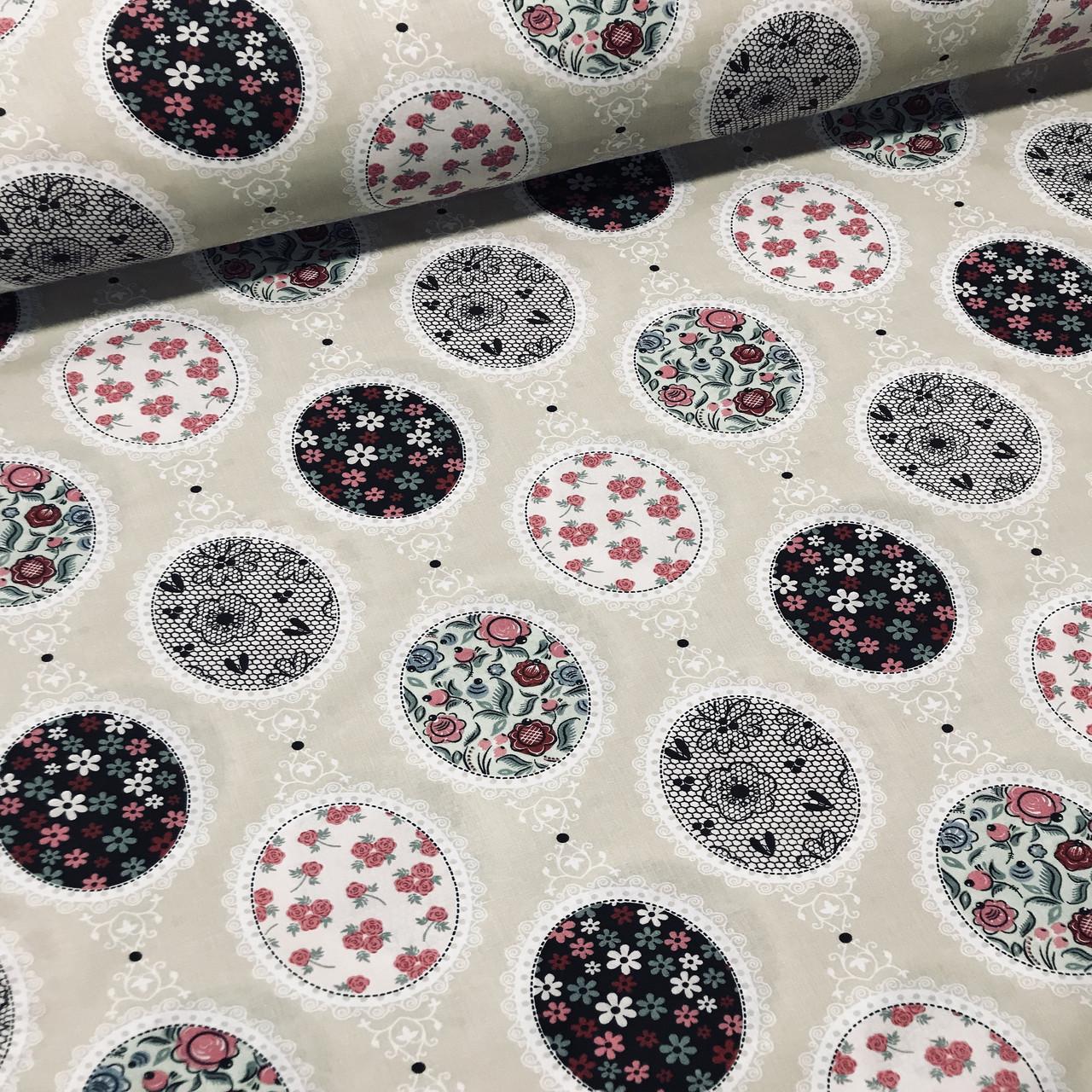 Хлопковая ткань польская кружева, овалы с рисунками на бежевом №74