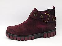 Ботинки женские замшевые бордо, ботинки кожа женские от производителя модель КА323-18