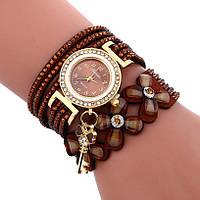 Женские часы браслет со стразами и коричневым браслетом