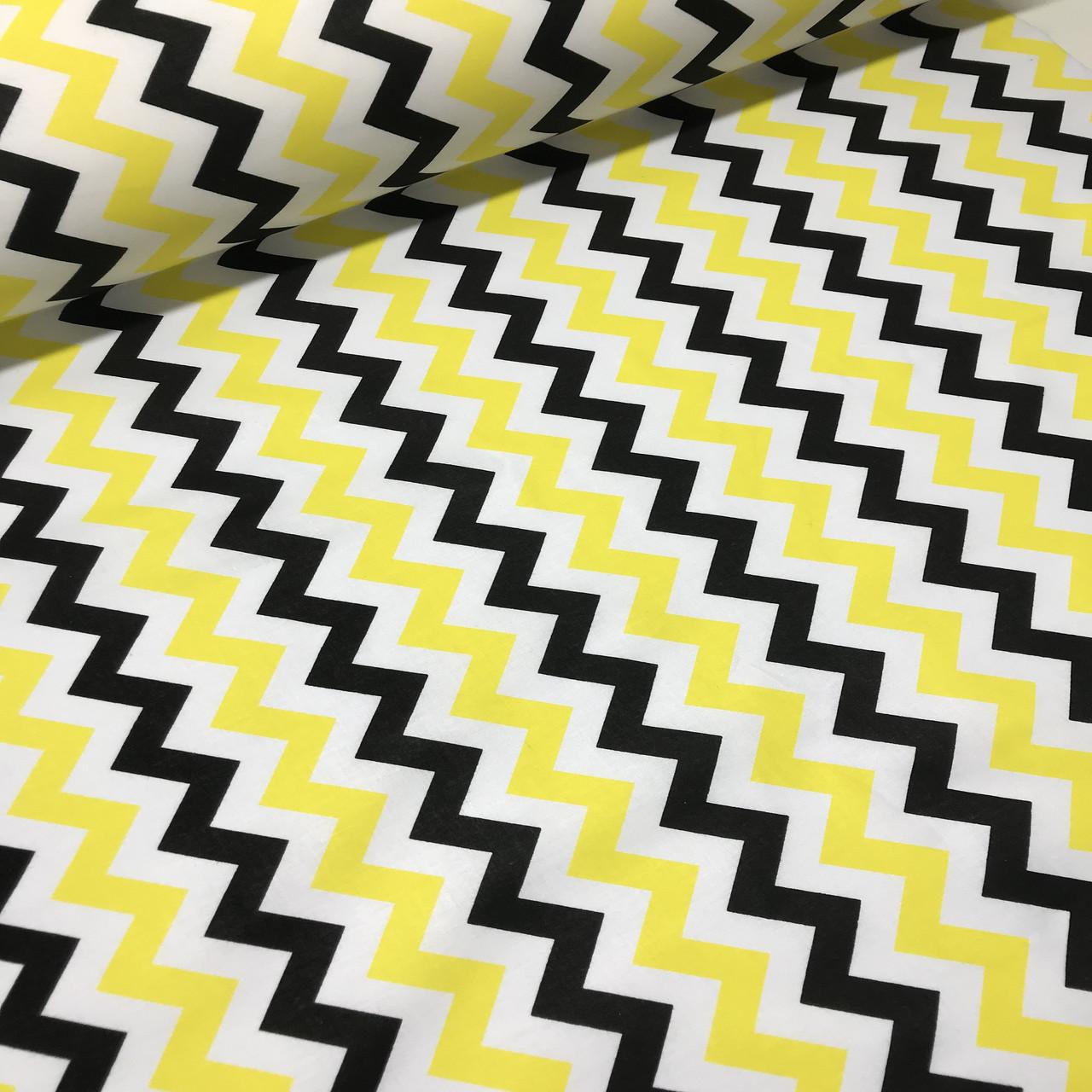 Хлопковая ткань польская зигзаг желто-черный №72