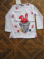 Детский батник Зайка с длинным рукавом для девочек   7-8 лет   Турция - пенье