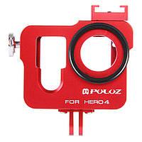 PULUZ PU140 Корпус Shell Алюминиевый сплав Защитный каркас для страховочного страхования Объектив Cap для GoPro HERO4
