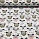 Бавовняна тканина польська овечки гірчичні, рожеві, білі з сердечками на білому №71, фото 2